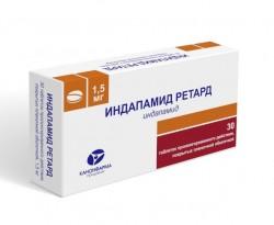 Индапамид ретард, табл. пролонг. п/о пленочной 1.5 мг №30